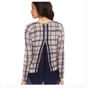 Lucky Brand Plaid Double Layer Sweater